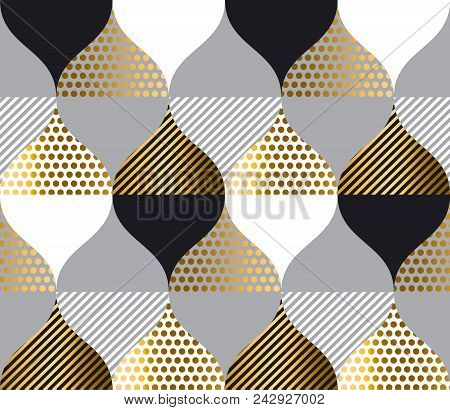 Black And White With Gold Luxury Geometry Pattern. Seamless Pattern Vector Illustration For Backgrou