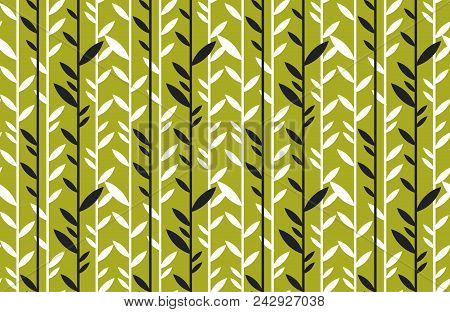 Simple Flat Tropical Bamboo Pattern In Green Color. Nature Floral Stock Vector Illustration.  Concep