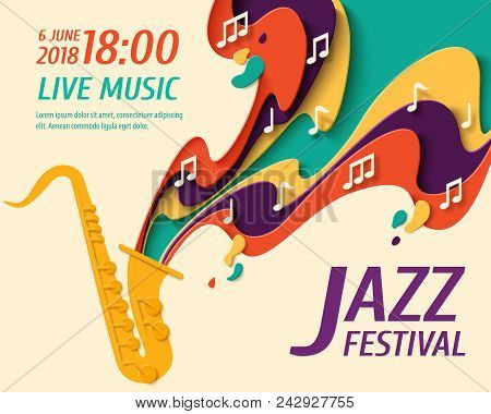 International Jazz Day - Music Paper Cut Style Poster For Jazz Festival Or Night Blues Retro Party W