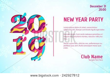 2019 Happy New Year Paper Craft Holiday Background With Snowflakes Pattern. Vector Winter Holiday Pa