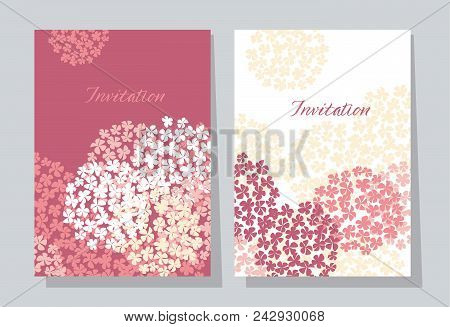 Rose Hydrangea Round Bouquet Card Template. Floral Stock Vector Illustration. Abstract Hydrangea Flo