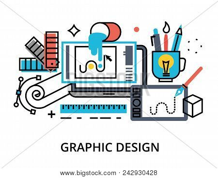 Modern Flat Thin Line Design Vector Illustration, Infographic Concept Of Graphic Design, Designer It