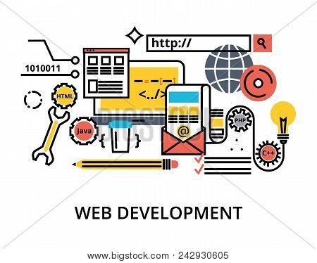 Modern Editable Flat Line Vector Set Of Abstact Web Development Process, Responsive And Graphic Desi