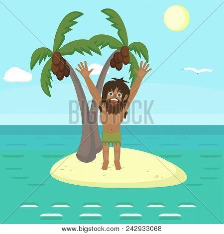 Man On Uninhabited Island Shouting, Funny Cartoon Vector Illustration Wild Character