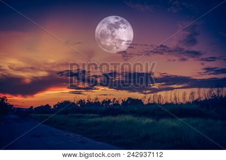 Beautiful Countryside Area At Night. Attractive Bright Full Moon On Dark Sky With Cloudy. Serenity N