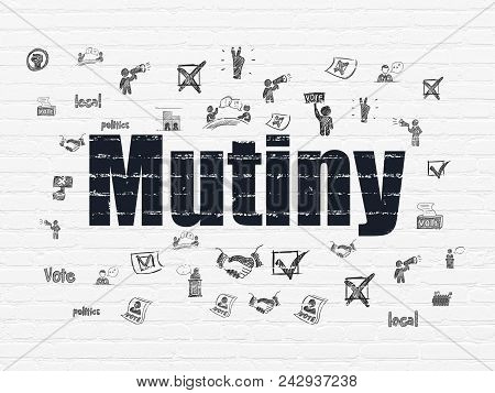 Politics Concept: Painted Black Text Mutiny On White Brick Wall Background With  Hand Drawn Politics