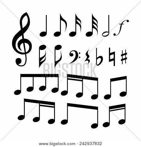 G-clef, C-clef, Music Notes And Symbols Icon Set. Music Signs.