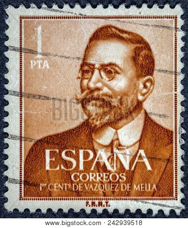 Spain - Circa 1961: A Stamp Printed In The Spain Shows Juan Vazquez De Mella