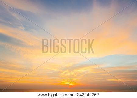 Sunset And Sunrise Golden Sky. Amazing Twilight Sky After Sunset For Background. Colorful Dramatic B