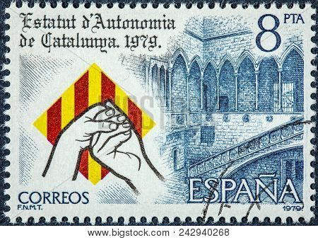 Spain - Circa 1979: A Stamp Printed In Spain Shows Statute Of Autonomy Of Catalonia