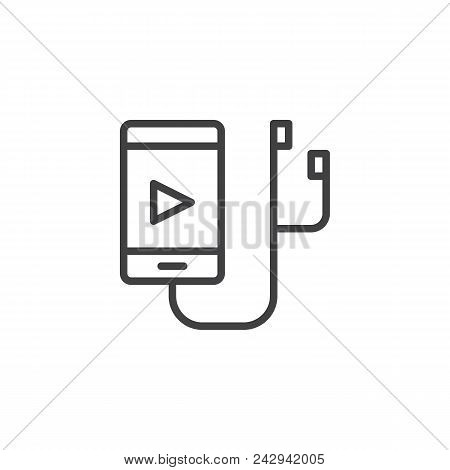 Music Player Outline Icon. Linear Style Sign For Mobile Concept And Web Design. Mp3 Player Line Vect