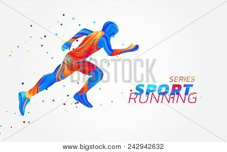 Runner With Colorful Spots Isolated On White Background. Liquid Design With Colored Paintbrush. Vect