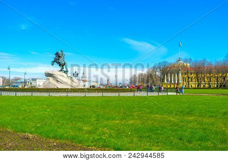 Saint Petersburg, Russia - April 27, 2015: Equestrian Monument To Peter The Great Is The Most Known