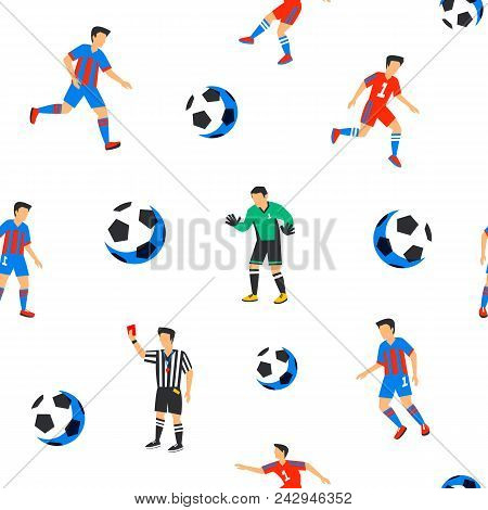Football Players Seamless Pattern. Sport Championship. Soccer Players With Football Ball. Full Color