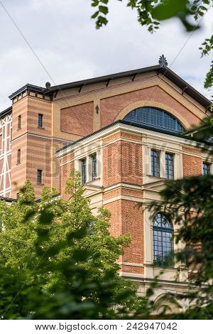 Close up from the famous bayreuth wagner festival theatre from the side poster
