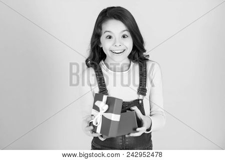 Girl Child With Surprised Happy Face Open Gift Box On Blue Background. Surprise, Gift, Boxing Day Co