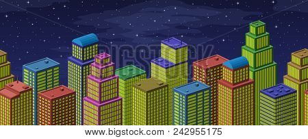 Background With View Of Megapolis City. Horizontal Seamless Urban Landscape With Colorful Cartoon Sk
