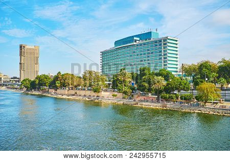 The View On Corniche Embankment Of Cairo Downtown From The Qasr El Nil Bridge, The Modern Tourist Ho