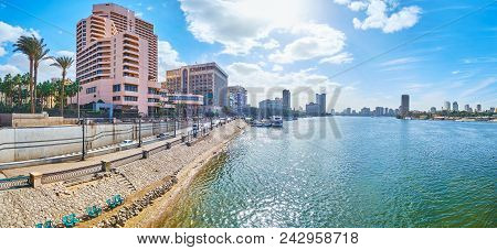 Panorama Of Corniche Embankment Of Nile River With A View On Hotels And Administrative Buildings Of