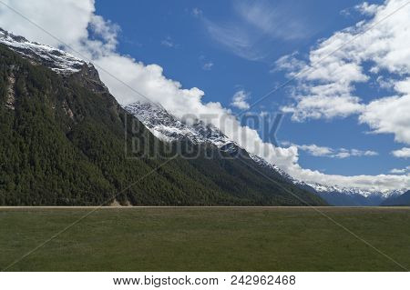Mountains And Grassland. South Island. New Zealand