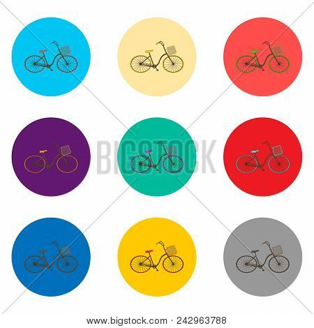 Vector Icon Illustration For Set Symbols Retro Bicycle With Basket. Bicycle Pattern Consisting Of Fl