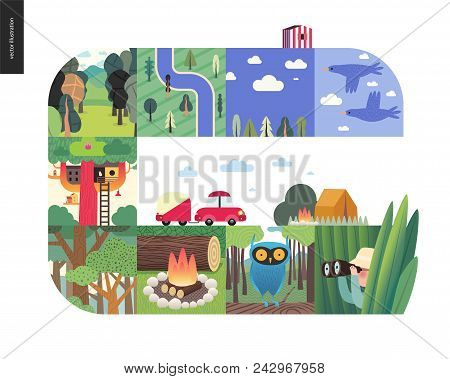 Simple Things - Forest Set On A White Background - Flat Cartoon Vector Illustration Of Birds, Sky, C