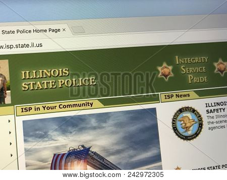 Amsterdam, Netherlands - May 28, 2018: Website Of The Illinois State Police (isp) Is The State Polic