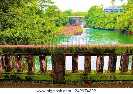 Bridge Covered In Moss Over The Wailuku River Taken In Hilo, Hi