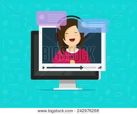 Video Chatting Online On Computer Vector Illustration, Flat Cartoon Video Player Window With Speakin