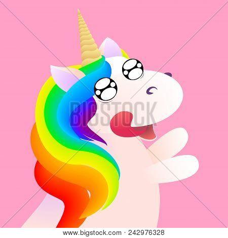 Cute Vector Comic Unicorn Emotion Anticipation. Stock Illustration