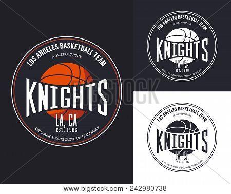Basketball Logo For T-shirt Design. Streetball Sportswear Logo, Ball For Varsity Or University Team.