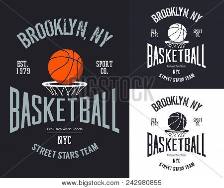 Set Of Isolated Signs For New York Basketball Street Team. Orange Ball Over Basket Banner For Street
