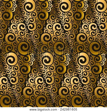 Gold And Black Swirl Seamless Pattern. Art Nouveau Abstract Geometry Repeatable Motif For Background