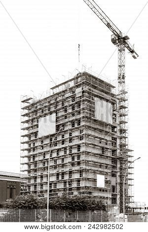 Detail Building During Construction, Scaffold New Building, Laborer Construction Modern Buildings, S