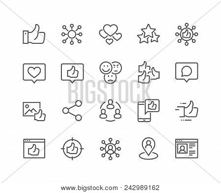 Simple Set Of Social Networks Related Vector Line Icons. Contains Such Icons As Profile Page, Rating