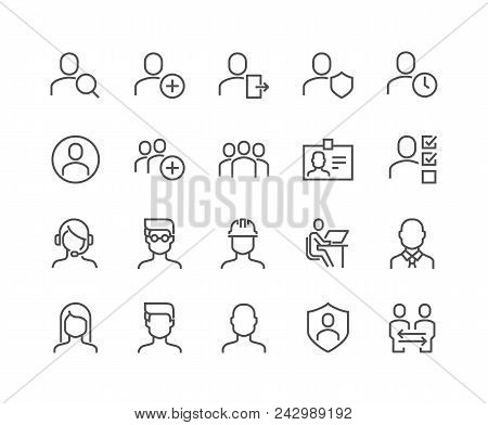 Simple Set Of Users Related Vector Line Icons. Contains Such Icons As Male, Female, Profile, Persona