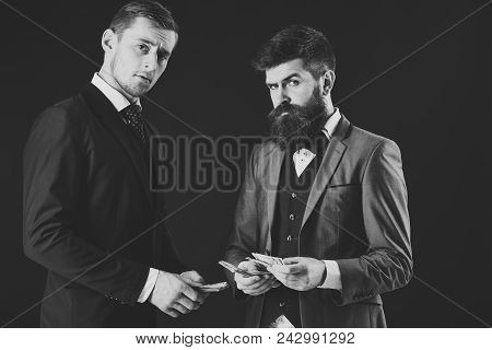 Man With Serious Emotion. Meeting Of Reputable Businessmen, Black Background. Man With Beard On Seri