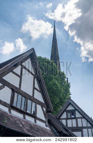 Church Spire Over Tudor Homes In Shrewsbury,  Shropshire