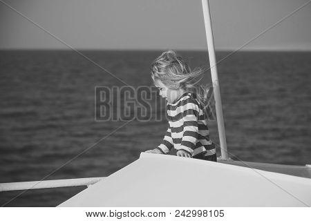 Child Childhood Children Happiness Concept. Childhood And Happiness Concept. Yachting And Sailing Al