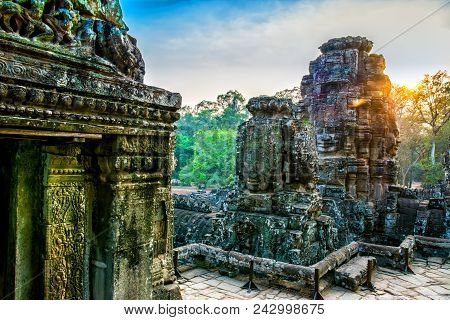 Stone Murals And Statue Bayon Temple Angkor Thom. Angkor Wat The Largest Religious Monument In The W