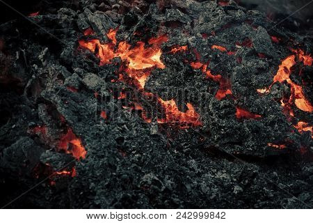 Danger, Hazard, Energy Concept. Magma Textured Molten Rock Surface. Volcano, Fire, Crust. Lava Flame