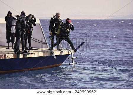 Egypt - June 15, 2014: Diving Destination Concept. Vacation Travelling Dive Activity
