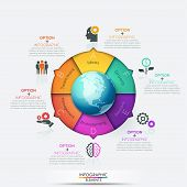 Pie chart with globe in center surrounded by 6 sectors with arrows pointing at symbols and text boxes. Six options of global business development. Infographic design layout. Vector illustration. poster