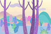 Fantastic landscape in a foggy haze in the early morning. Cartoon horizontal vector illustration of morning forest and distant mountains, vector illustration. poster