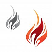 Vector concept design flame icon minimalist isolated on the white background. Flaming fire shape sign symbol. Vector illustration EPS.8 EPS.10 poster