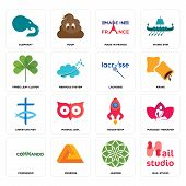 Set Of 16 simple editable icons such as nail studio, jasmine, penrose, commando, massage therapist, elephant, three leaf clover, christian fish, lacrosse can be used for mobile, web UI poster