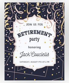 Retirement Party Invitation. Design Template With Rose Gold Polygonal Frame, Confetti And Serpentine