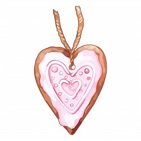 Watercolor Pink Heart Shaped Ginger Biscuit Isolated Vector