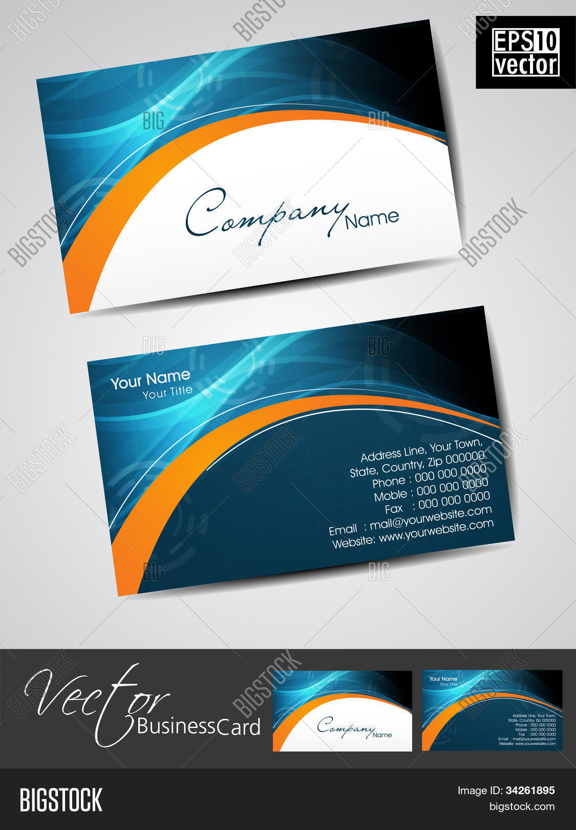 Professional business cards vector photo bigstock professional business cards template or visiting card set artistic wave effect blue and reheart Gallery