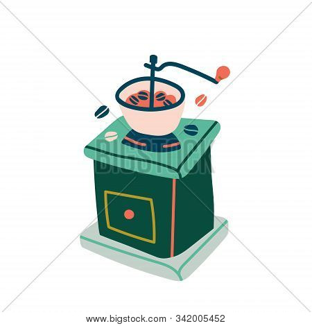Equipment For Grinding Coffee, Vector Illustration, Isolated Colored Drawing Of Manual Vintage Coffe
